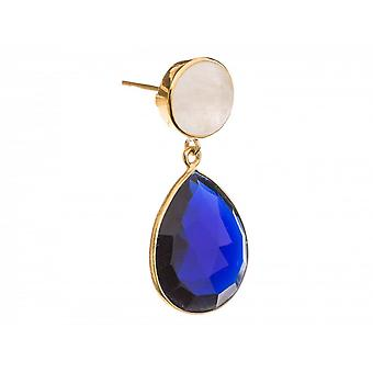 925 Silver gold plated couple ladies - earrings - 4 cm - Moon stone - Quartz - White - Blue-