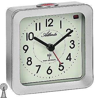 Alarm clock radio alarm clock silver square with light Snooze
