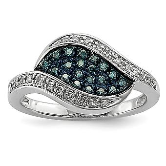 Sterling Silver Polished Prong set Open back Gift Boxed Rhodium-plated Blue Diamond Fancy Marquise Ring - Ring Size: 6 t