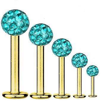 Labret Bar Tragus Piercing Gold plattiert Titan 1,2 mm, Multi Kristall Kugel Aqua | 5-12 mm