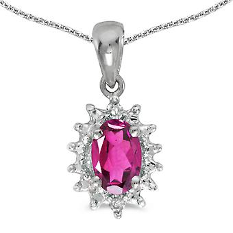 10k White Gold Oval Pink Topaz And Diamond Pendant with 16