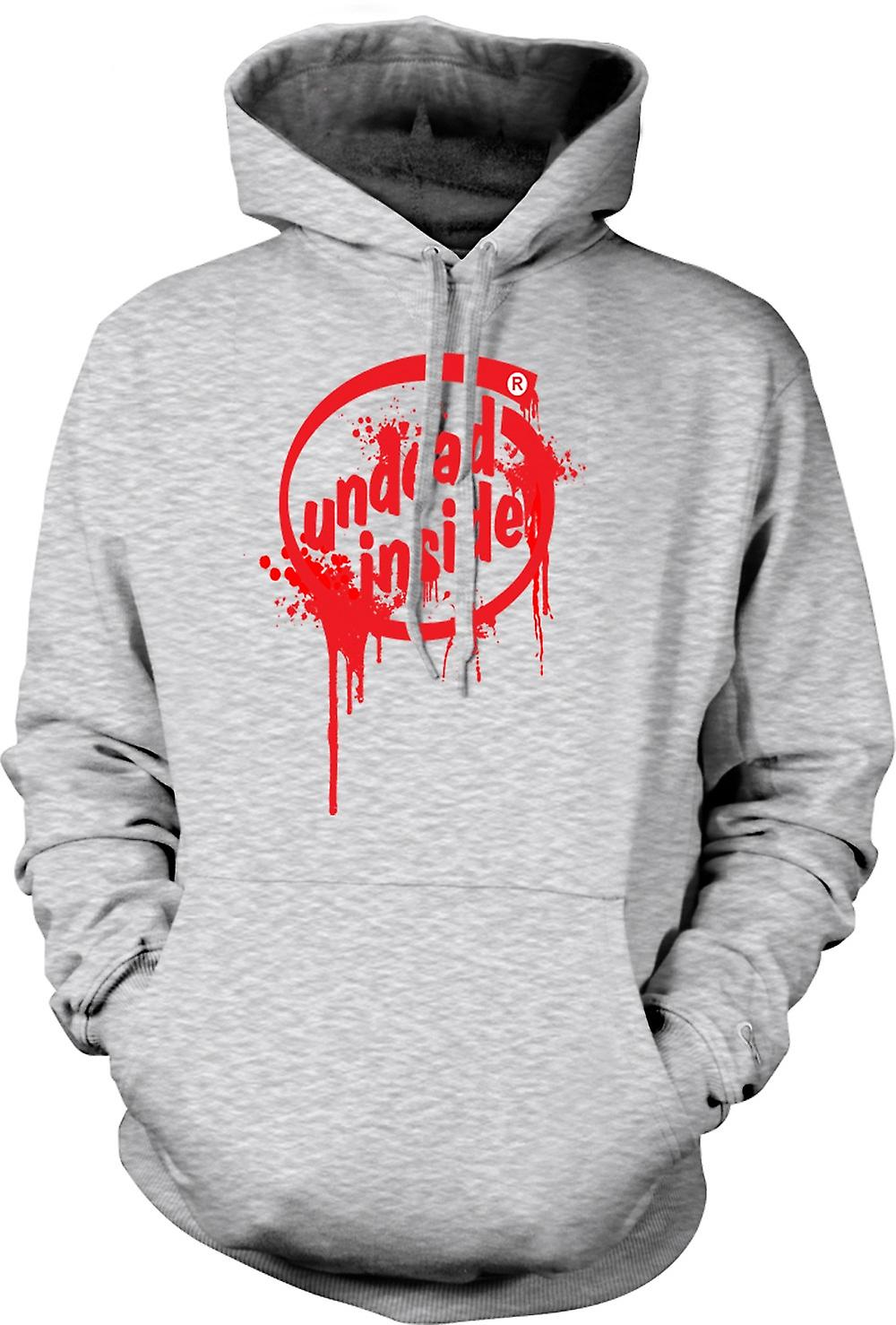 Mens Hoodie - Undead Inside - Zombie - Funny