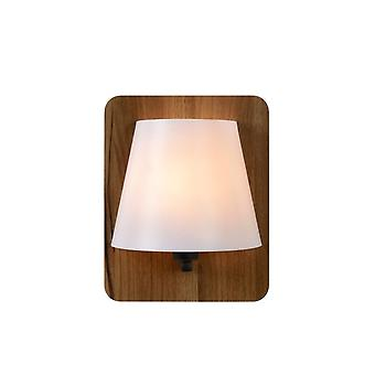 Lucide Idaho Modern Rectangle Wood Wood And Opal Wall Light
