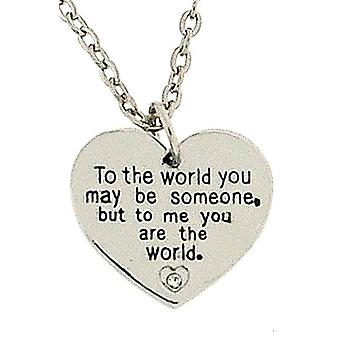 The Olivia Collection 2 Sided Worded Love Necklace With CZ On an 18