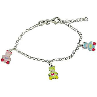 TOC Girls Sterling Silver Multicoloured Teddy Bear Charm Bracelet 5.5+1