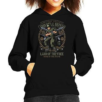 American Soldier Land Of The Free Kid's Hooded Sweatshirt