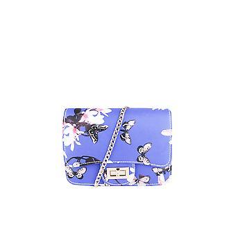 LMS Blau Blumen, Schmetterling Print Seitentasche mit Goldkettenträger