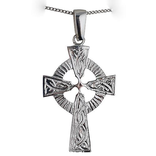 Silver 40x28mm embossed pattern Celtic Cross with a curb chain