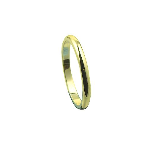 18ct Gold 2mm plain D shaped Wedding Ring Size P