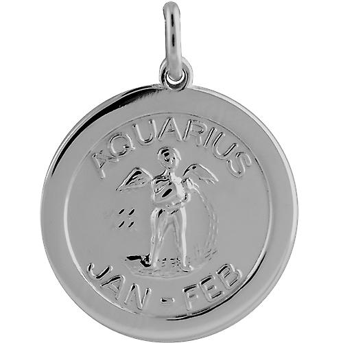 Silver 22mm round Zodiac Disc Pendant Aquarius