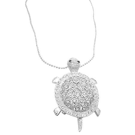 Silver Turtle Pendant Brooch Sparkling Like Real Diamond Gift Necklace