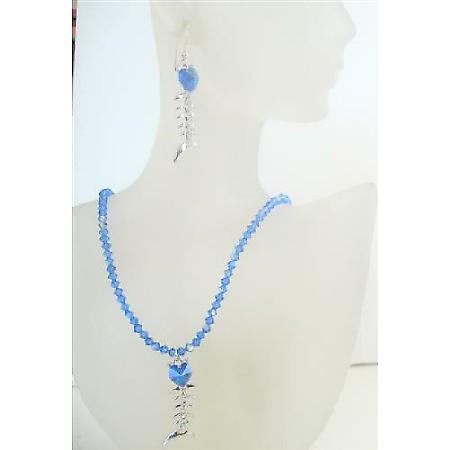 Swarovski AB Sapphire Crystals Pendant Necklace Set Custom Handmade