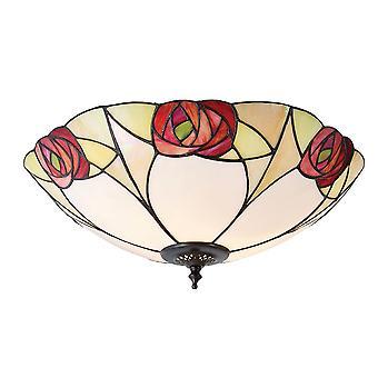 Ingram gran estilo Tiffany dos luz rasante luminaria de techo - interiores 1900 64182