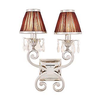 Lámpara de pared de doble níquel Oksana con tonos Chocolate - interiores 1900 63535