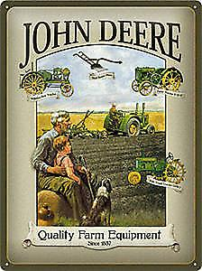 John Deere Man & Boy large embossed steel sign   (na 4030)
