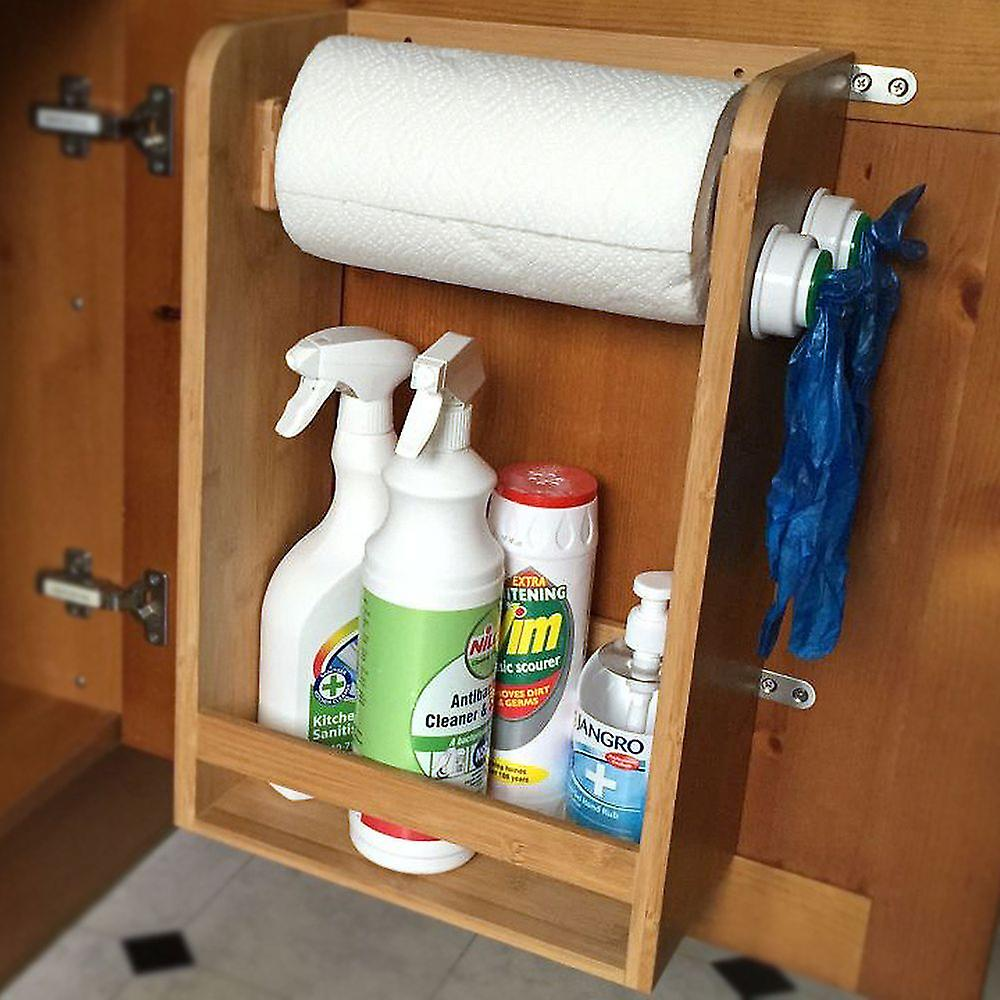 Woodquail Bamboo Kitchen Organiser Under Sink Storage Shelf, Paper Towels Holder