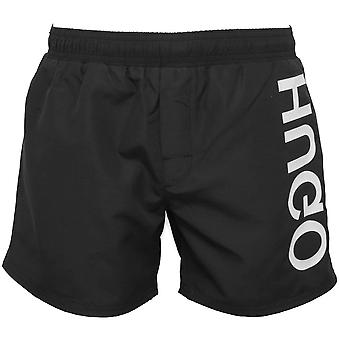 Hugo Saba Side Logo Swim Shorts, Black/white