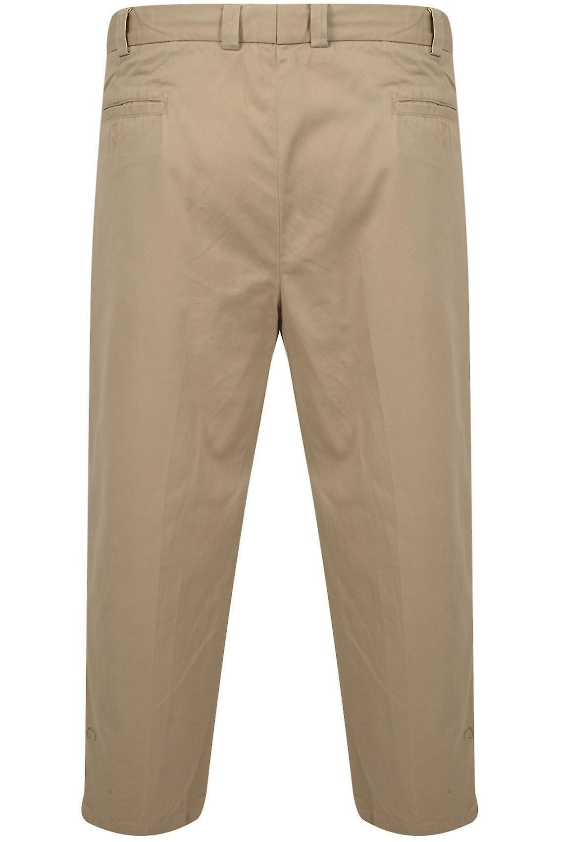 Beige Stretch Waist Chino Trousers With Pleats