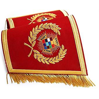 Masonic Gauntlets Cuffs - Past High Priest PHP Embroidered With Fringe