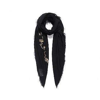 Intrigue Womens/Ladies Metallic Floral Embroidered Square Scarf