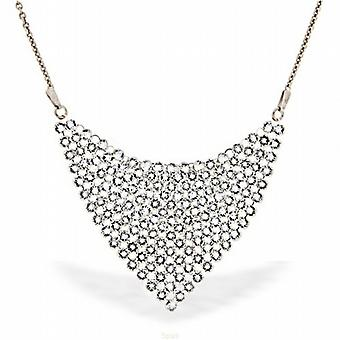 Spark Clear Crystal Chic Mesh Drop Necklace on Sterling Silver - 16