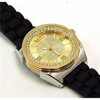 Henley Gents Black & Gold Crystal Sports Strap Watch