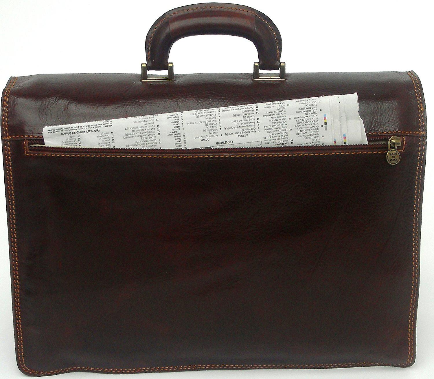 Genuine Italian Large Flapover Briefcase Messenger Bag Triple Compartment