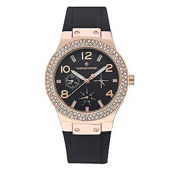 Timothy Stone Women's FACON-SILICONE Rose Gold-Tone and Black Strap Watch