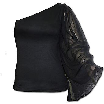 Spiral Direct Gothic GOTHIC ELEGANCE - One Shoulder Bat Wing Top Black|Gothic