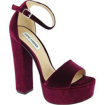 Steve Madden Women's high heel ankle strap sandals shoes burgundy velvet