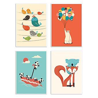 4 art-affischer 20 x 30 cm-baby djur-Jay Fleck