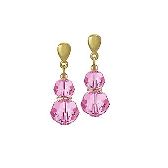 Eternal Collection Echo Rose Pink Austrian Crystal Gold Tone Drop Clip On Earrings