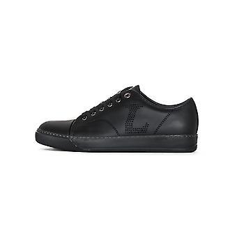 Lanvin Lanvin Black 'L' Napa Leather Toe Cap Sneakers