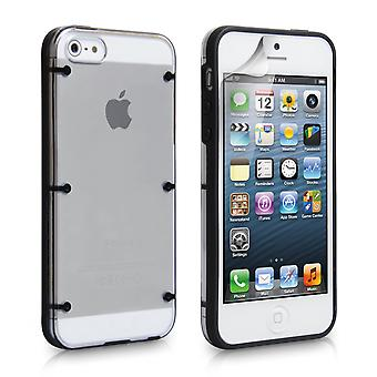 YouSave iPhone 5 5 s 6 Dot Design hart Hybrid Case schwarz