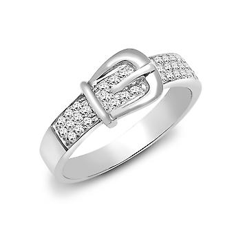 Jewelco London Solid 18ct White Gold Pave Set Round G SI1 0.34ct Diamond Belt Buckle Dress Ring 7mm