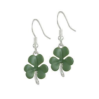 Eternal Collection Shamrock Green Enamel Silver Tone Flower Drop Pierced Earrings