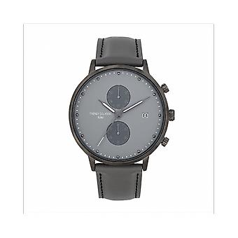 Trendy Classic WATCH CC1046-03 - Duel Chronograph Bo tier Steel Grey Leather Bracelet Grey Grey Cadran Grey