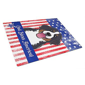God Bless American Flag with Bernese Mountain Dog Glass Cutting Board Large BB2167LCB
