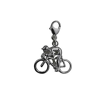 Silver 14x18mm Bicycle and Cyclist Charm with a lobster clasp