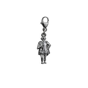 Silver 17x9mm William Shakespeare Charm on a lobster trigger