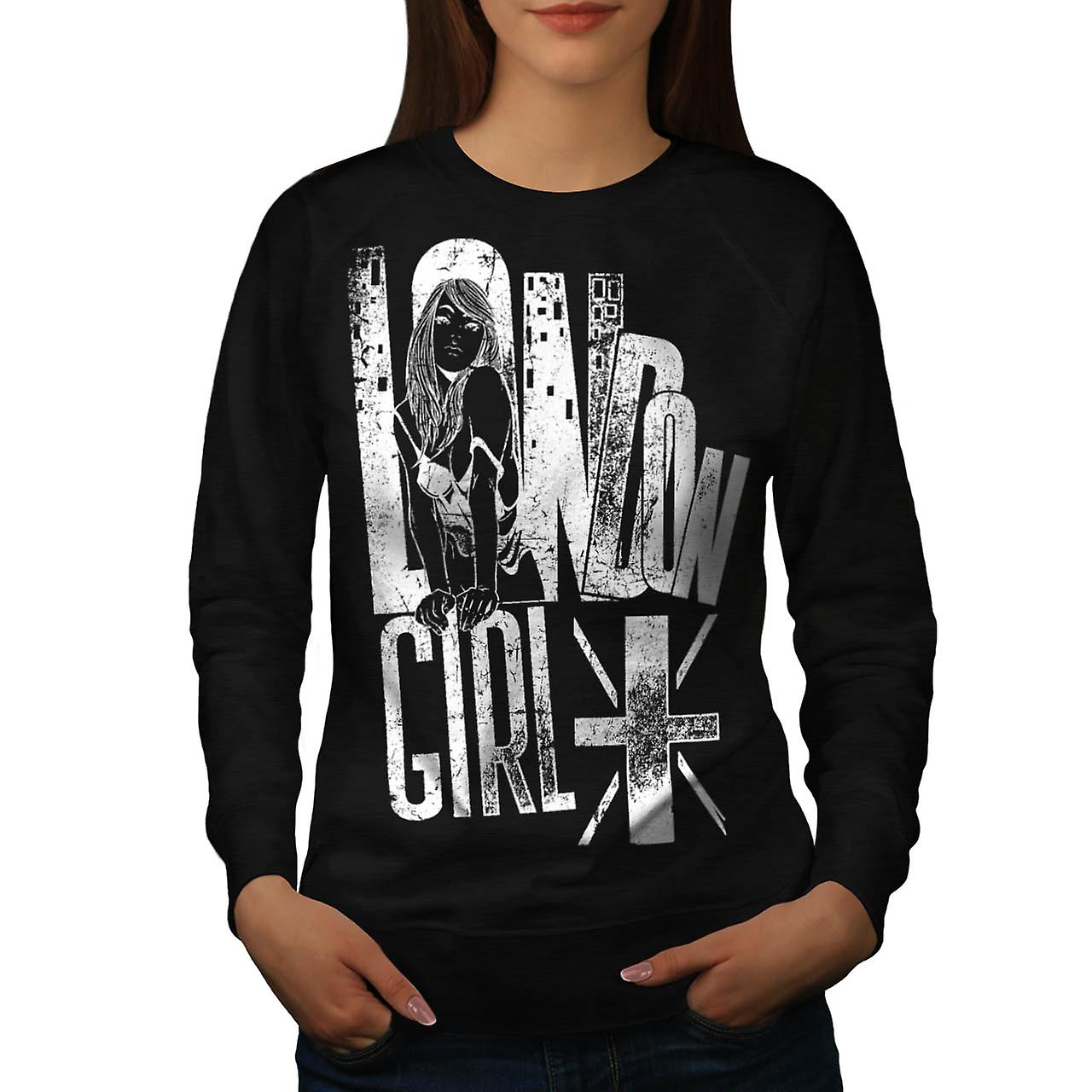 Royal London Girl UK Britain GB Women Black Sweatshirt | Wellcoda