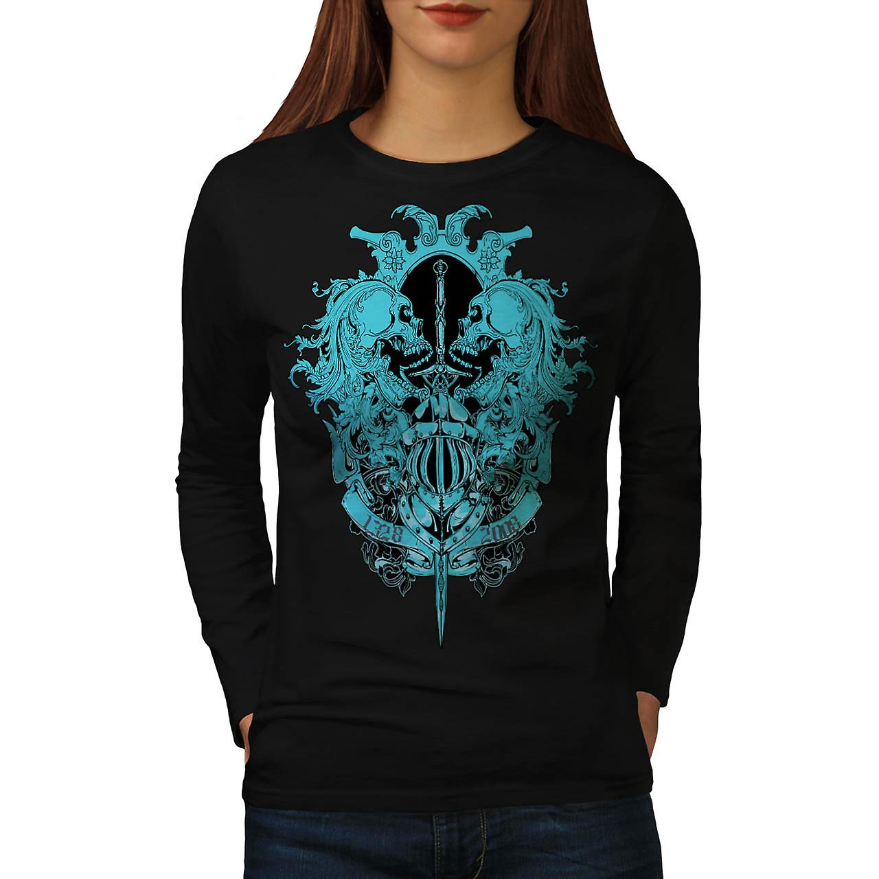 Skeleton Battle Sword Fear Fight Women Black Long Sleeve T-shirt | Wellcoda