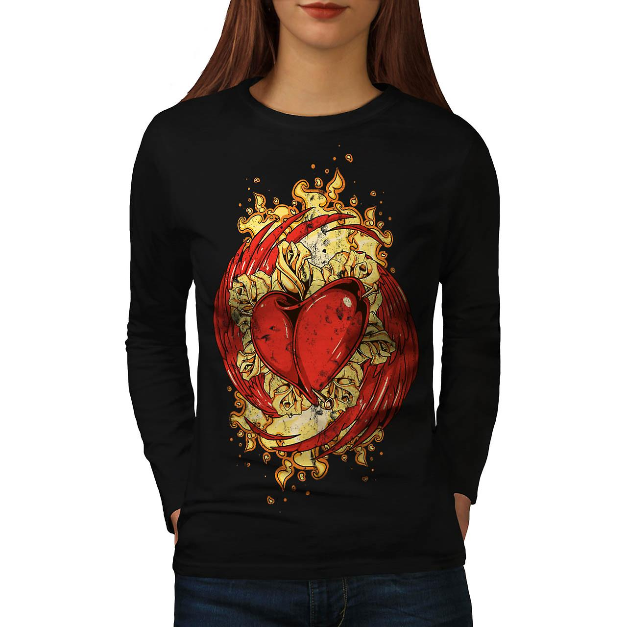 Love Heart Wing Lust Beat Organ Women Black Long Sleeve T-shirt | Wellcoda