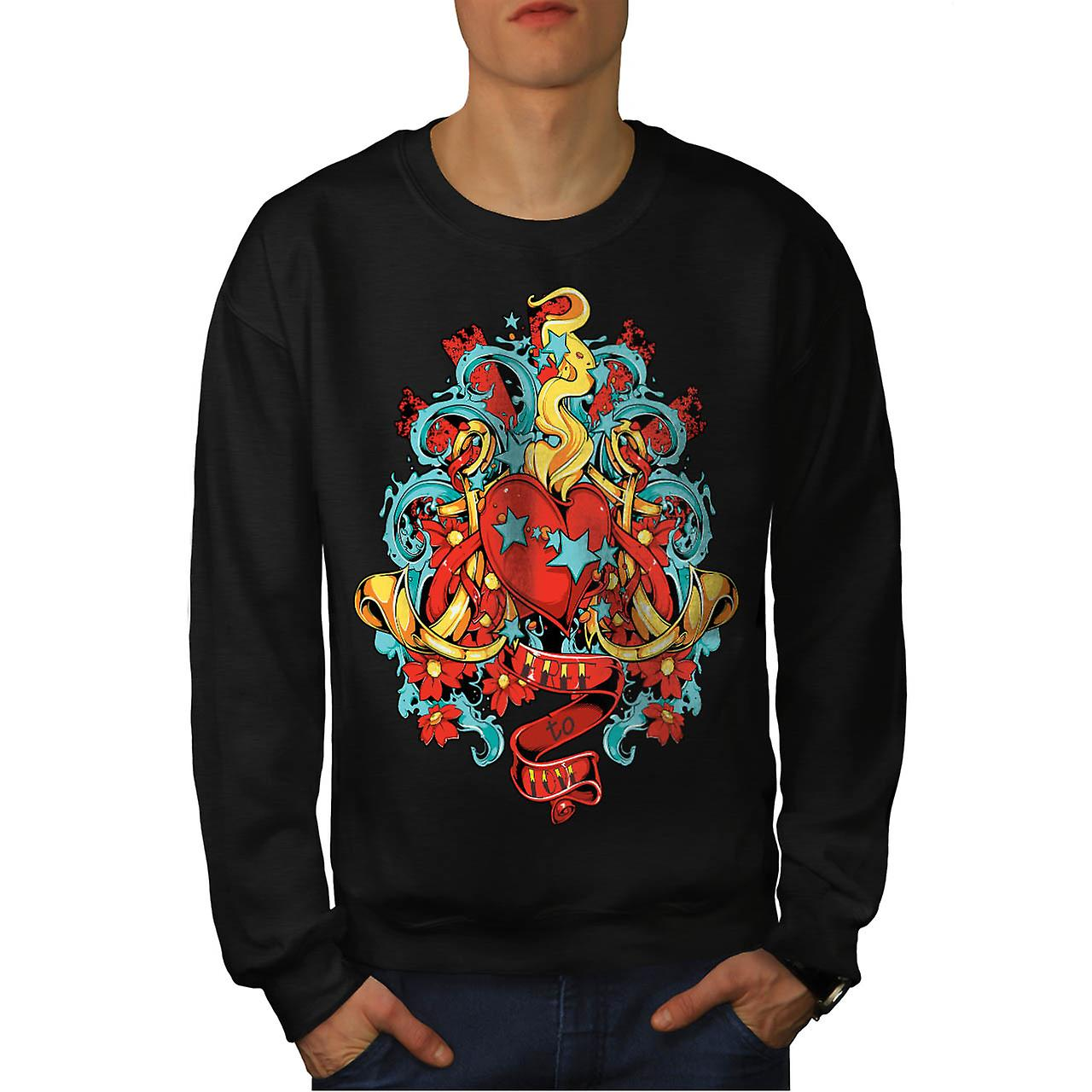 Free To Love Romantic Fire Heart Men Black Sweatshirt | Wellcoda