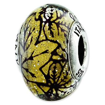 Sterling Silver Reflections Yellow With Black Lines Italian Murano Glass Bead Charm