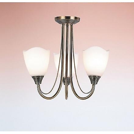 Endon 601-3AN 3 Light Semi-Flush Ceiling Light Plated In Antique Brass