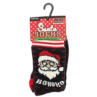 Mens Heat Machine Santa HOHOHO Soft Fleece Lined Christmas Slipper Socks