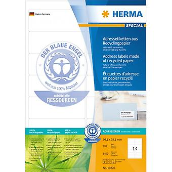 Address labels Recycled 99, 1x38, 1 Herma A4 1400