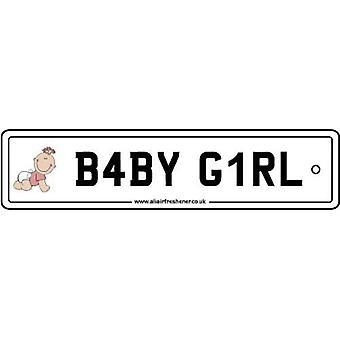 Baby Girl Numberplate Car Air Freshener