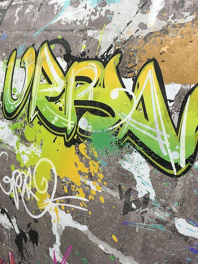 Graffiti Wallpaper Urban Brick Luxury Heavyweight Multicoloured Fine Decor